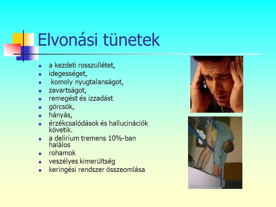 Elvonási tünetek a kezdeti rosszullétet, idegességet,