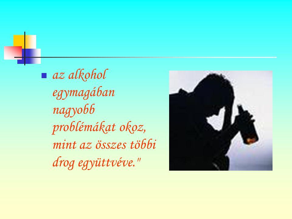 az alkohol egymagában nagyobb problémákat okoz, mint az összes többi drog együttvéve.