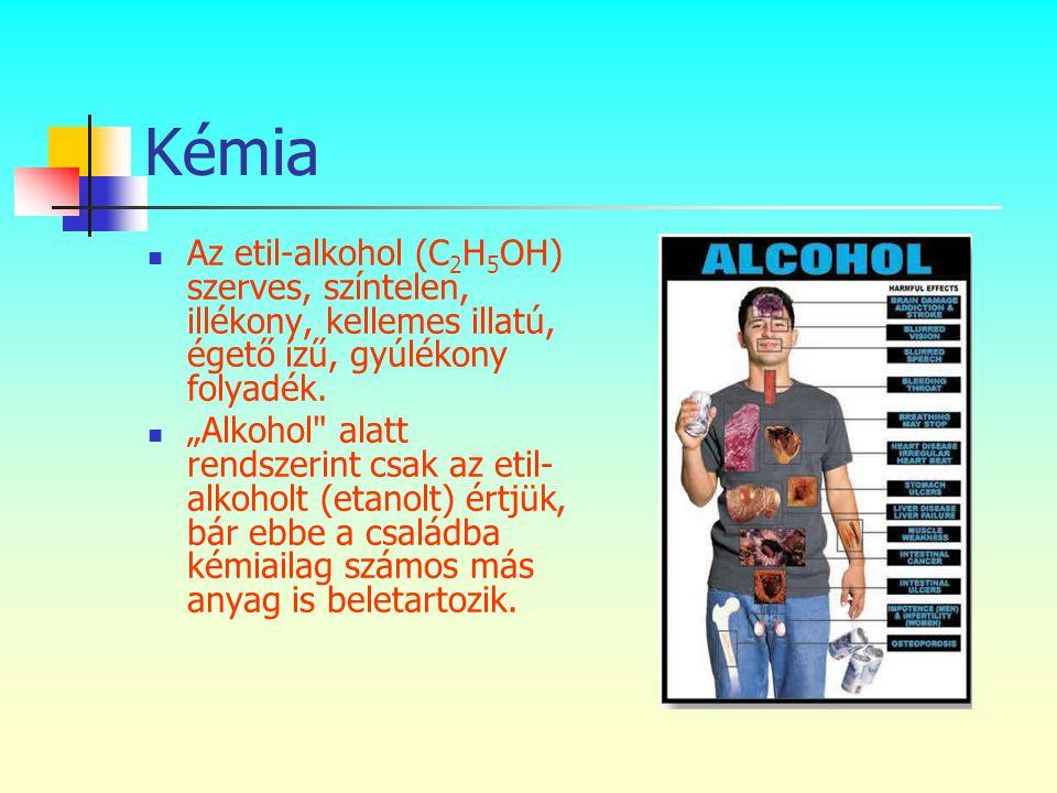 Kémia Az etil-alkohol (C2H5OH) szerves, színtelen, illékony, kellemes illatú, égető ízű, gyúlékony folyadék.