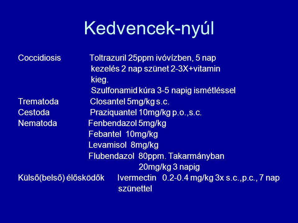 Kedvencek-nyúl Coccidiosis Toltrazuril 25ppm ivóvízben, 5 nap