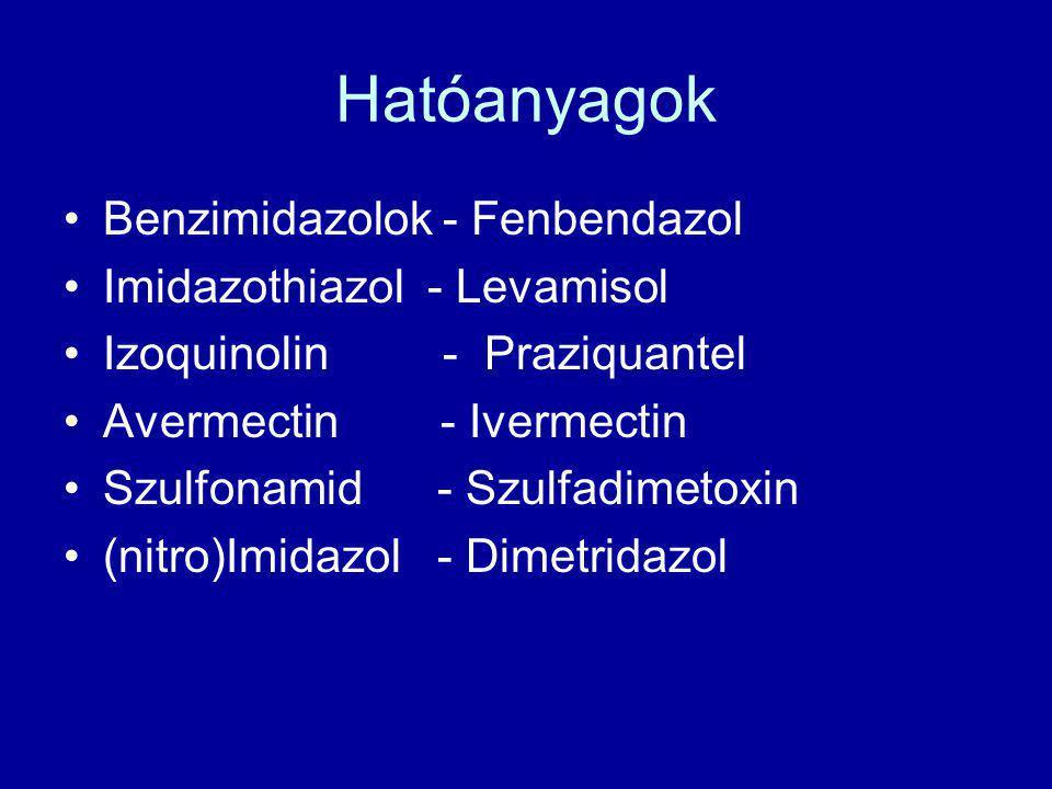 Hatóanyagok Benzimidazolok - Fenbendazol Imidazothiazol - Levamisol