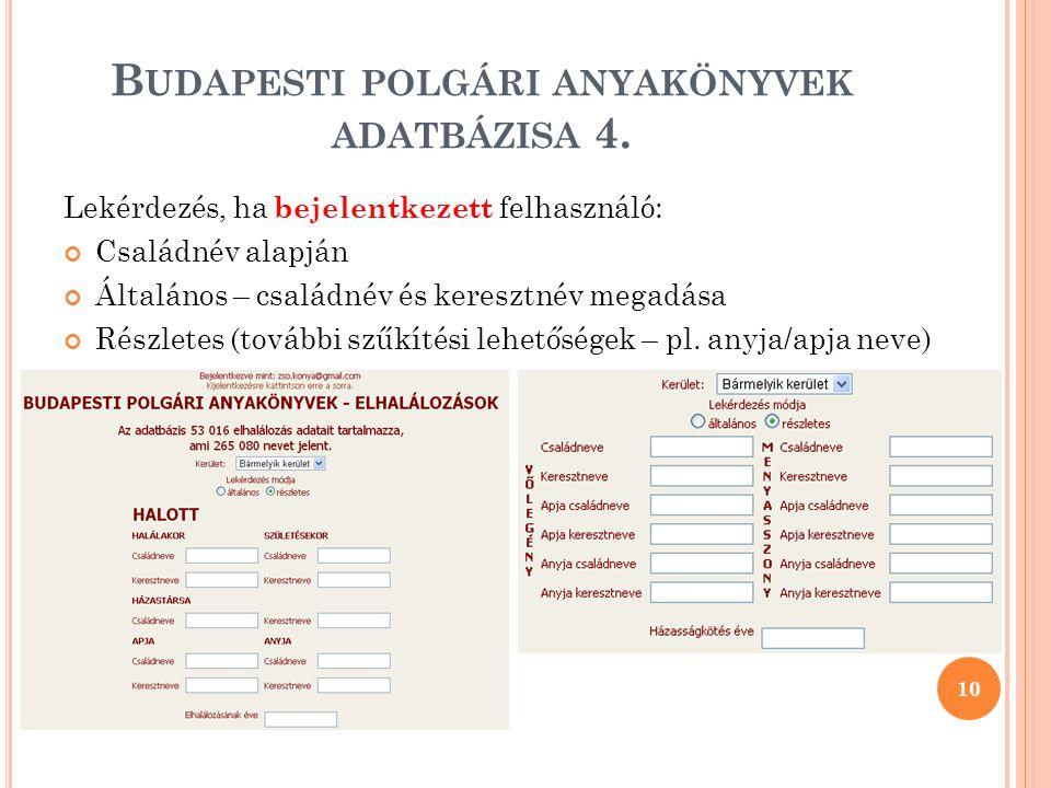 Budapesti polgári anyakönyvek adatbázisa 4.