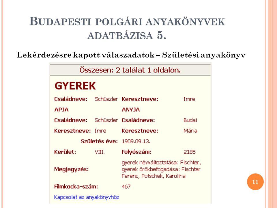 Budapesti polgári anyakönyvek adatbázisa 5.