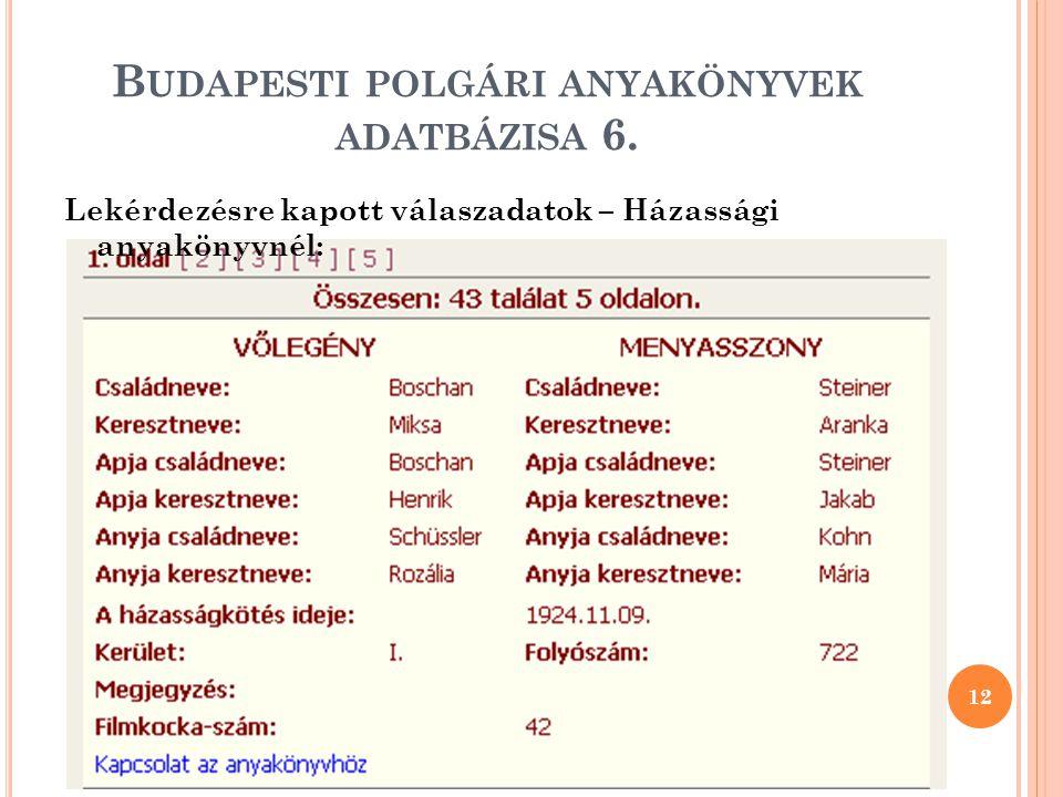 Budapesti polgári anyakönyvek adatbázisa 6.