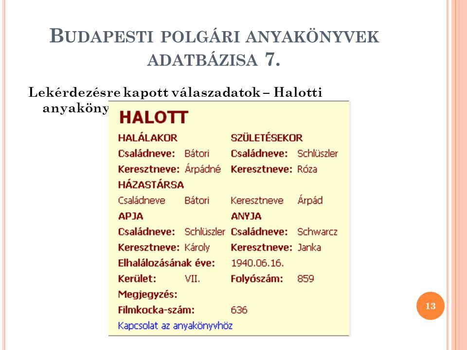 Budapesti polgári anyakönyvek adatbázisa 7.