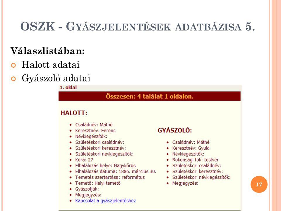 OSZK - Gyászjelentések adatbázisa 5.