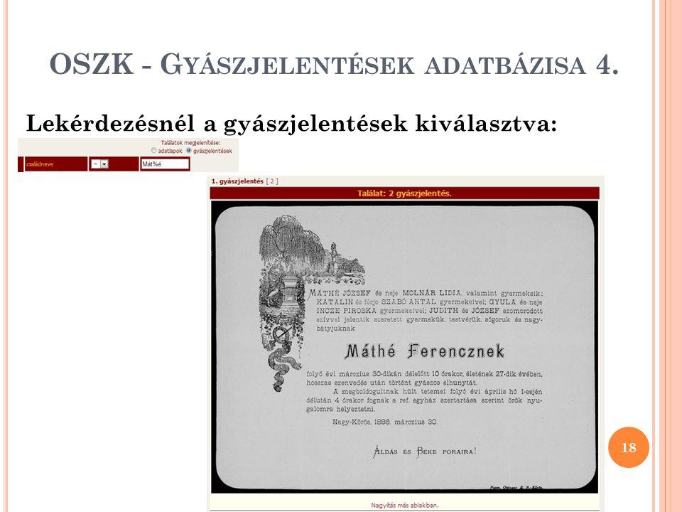OSZK - Gyászjelentések adatbázisa 4.
