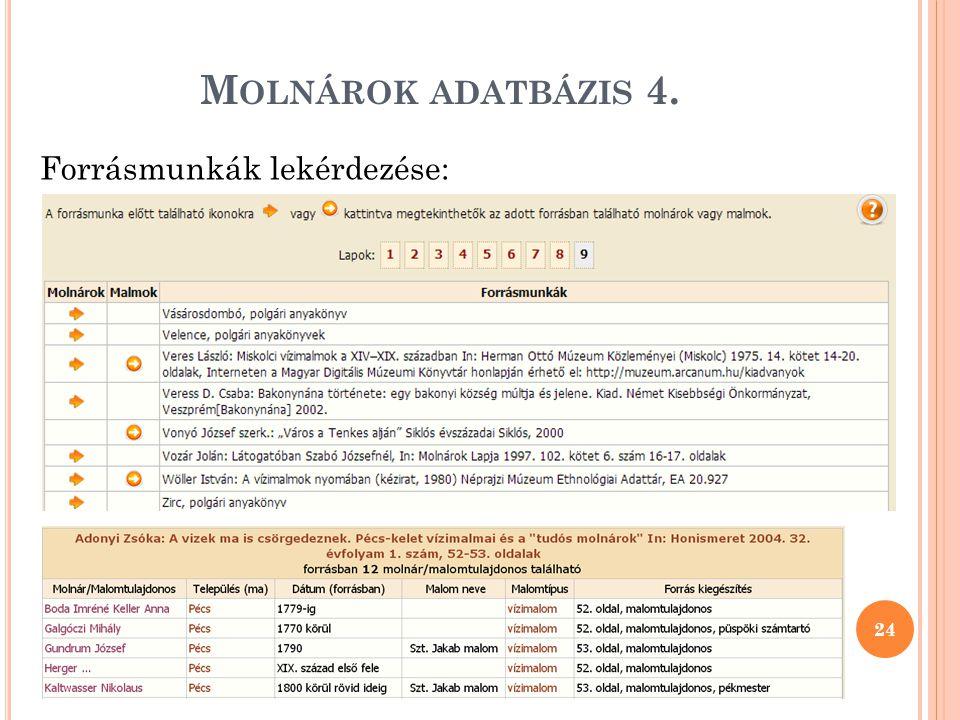 Molnárok adatbázis 4. Forrásmunkák lekérdezése: