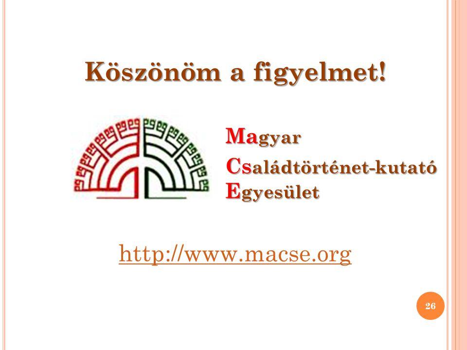 Köszönöm a figyelmet! http://www.macse.org Magyar