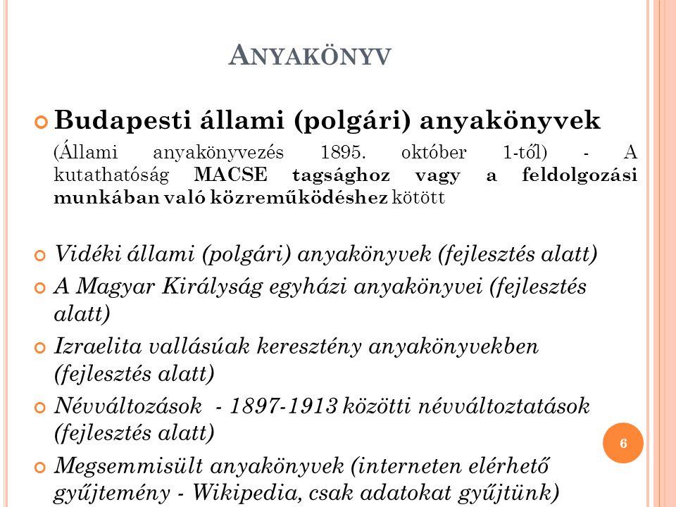 Anyakönyv Budapesti állami (polgári) anyakönyvek