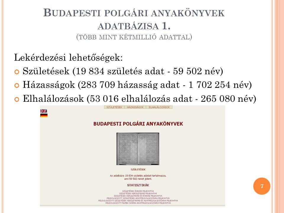 Budapesti polgári anyakönyvek adatbázisa 1