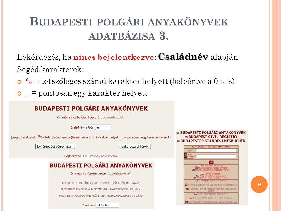 Budapesti polgári anyakönyvek adatbázisa 3.