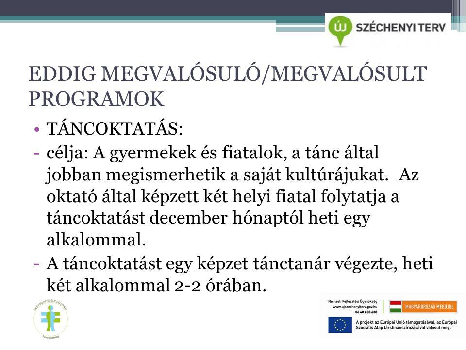EDDIG MEGVALÓSULÓ/MEGVALÓSULT PROGRAMOK