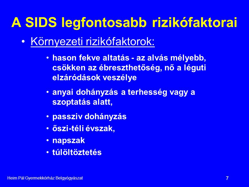 A SIDS legfontosabb rizikófaktorai