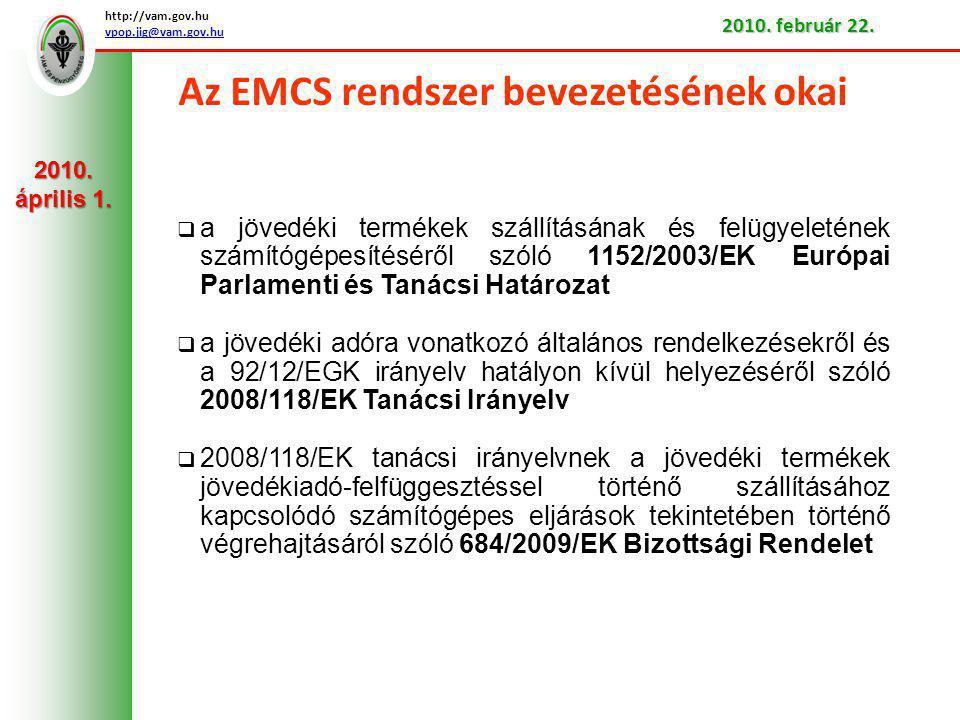 Az EMCS rendszer bevezetésének okai