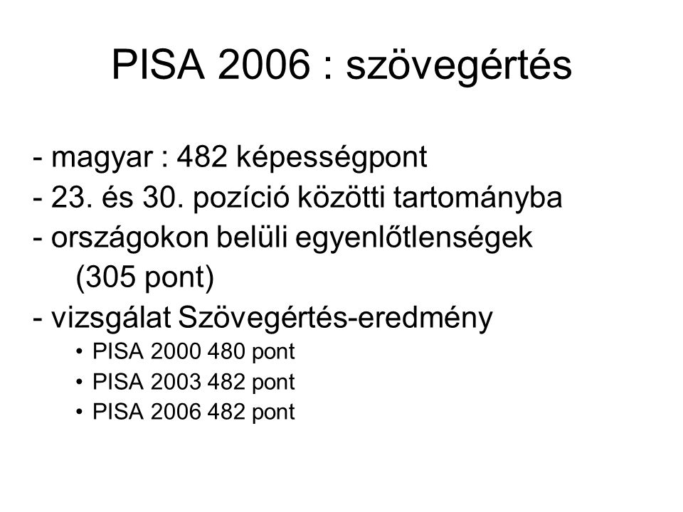 PISA 2006 : szövegértés - magyar : 482 képességpont