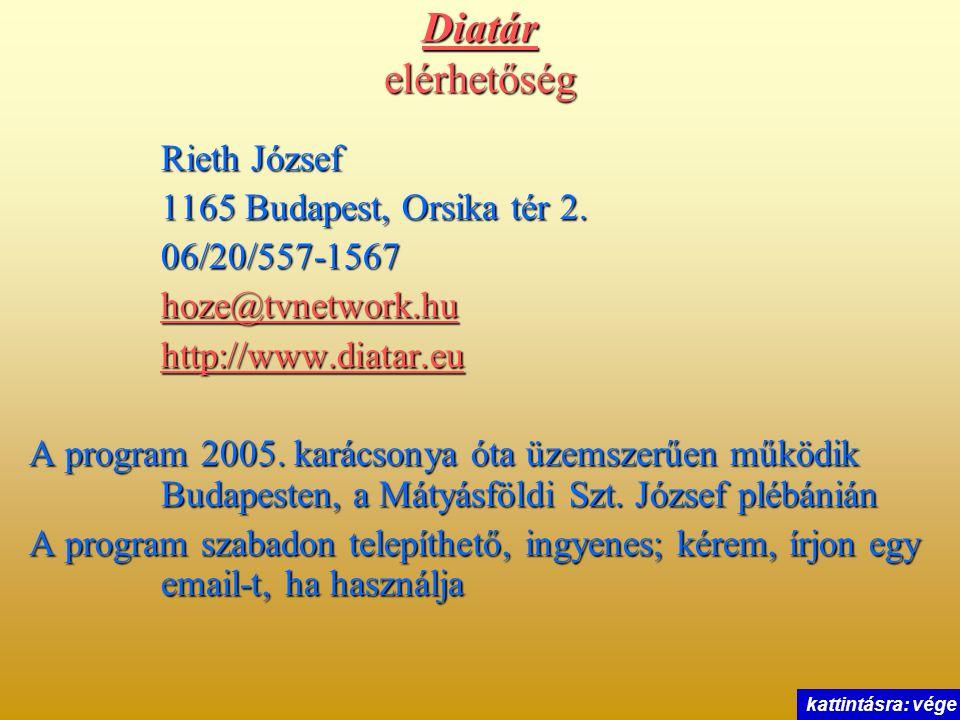 Diatár elérhetőség Rieth József 1165 Budapest, Orsika tér 2.