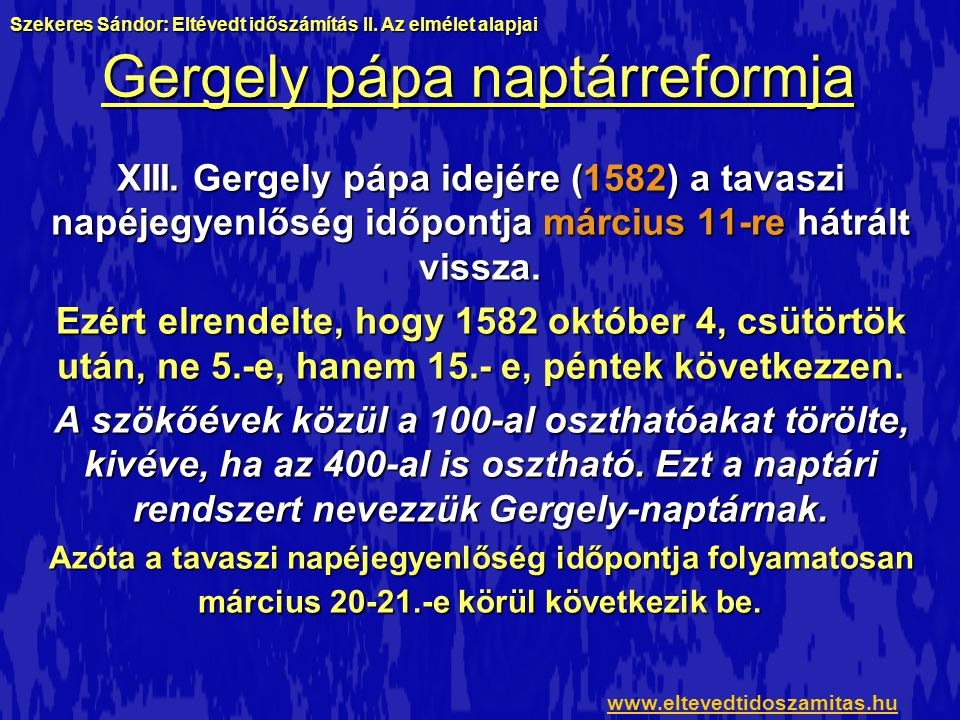 Gergely pápa naptárreformja