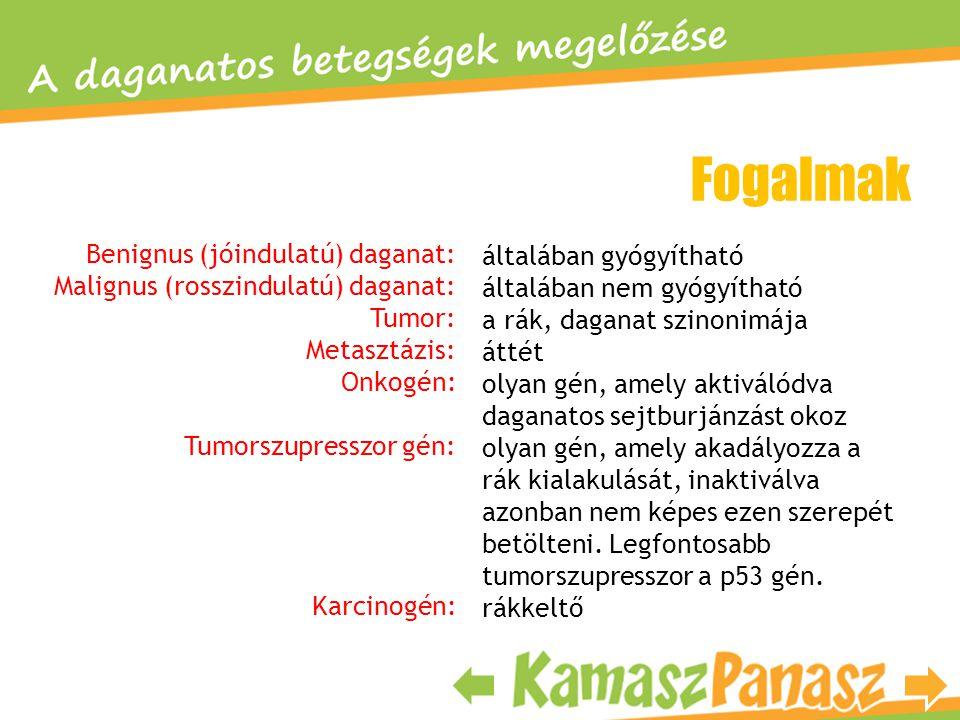 Fogalmak Benignus (jóindulatú) daganat: általában gyógyítható