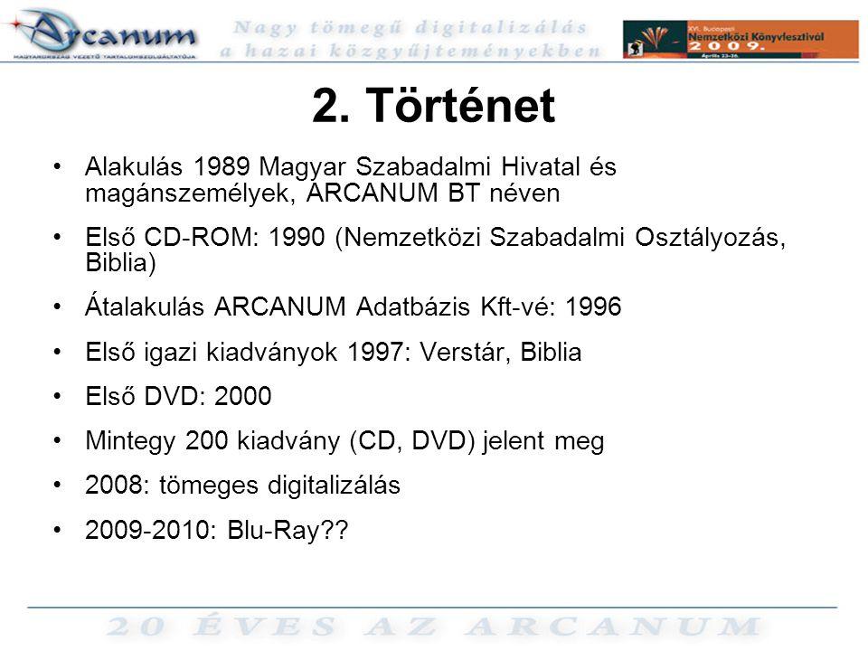 2. Történet Alakulás 1989 Magyar Szabadalmi Hivatal és magánszemélyek, ARCANUM BT néven.
