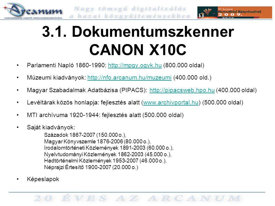 3.1. Dokumentumszkenner CANON X10C