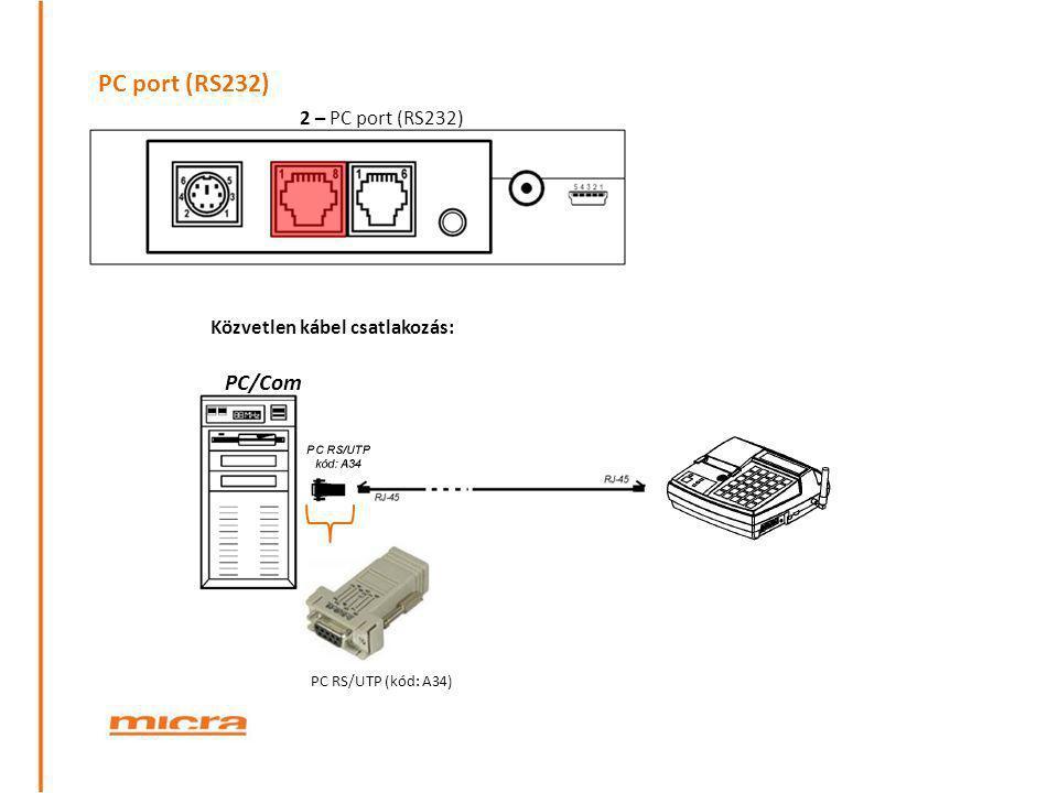 PC port (RS232) PC/Com 2 – PC port (RS232)