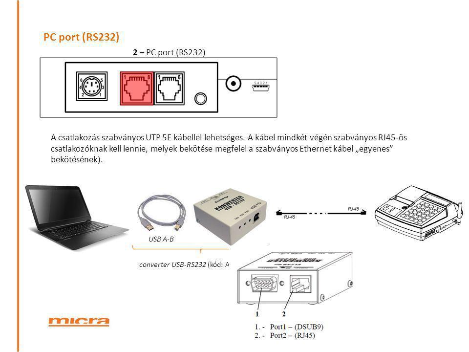 PC port (RS232) 2 – PC port (RS232)