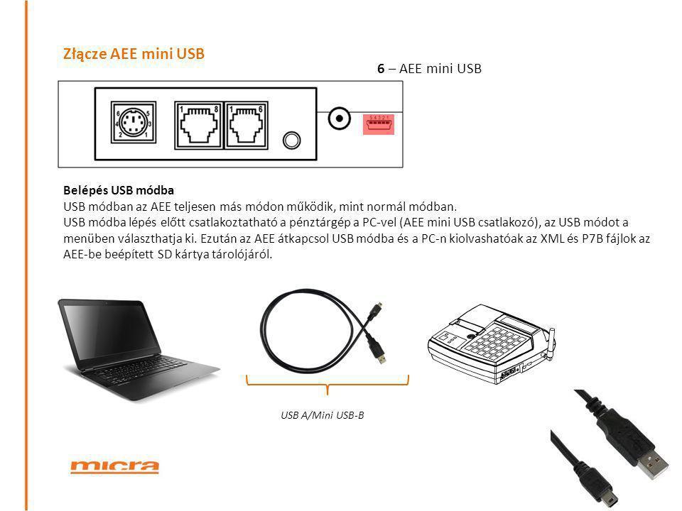 Złącze AEE mini USB 6 – AEE mini USB Belépés USB módba