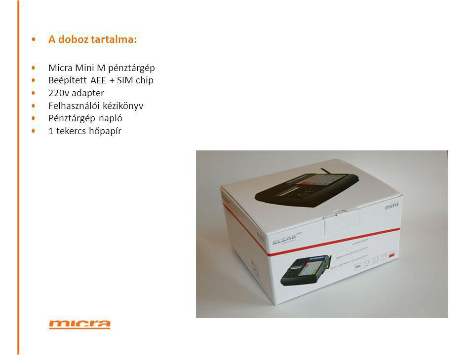 A doboz tartalma: Micra Mini M pénztárgép Beépített AEE + SIM chip