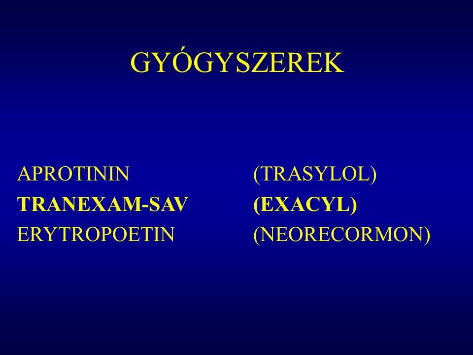 GYÓGYSZEREK APROTININ (TRASYLOL) TRANEXAM-SAV (EXACYL)