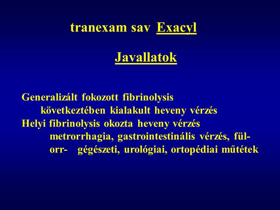 tranexam sav Exacyl Javallatok Generalizált fokozott fibrinolysis