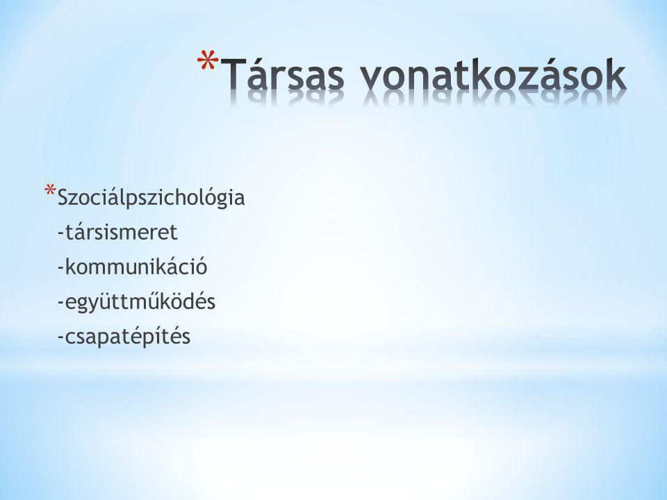 Társas vonatkozások Szociálpszichológia -társismeret -kommunikáció