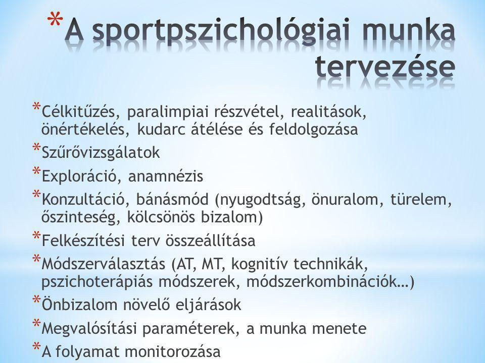 A sportpszichológiai munka tervezése