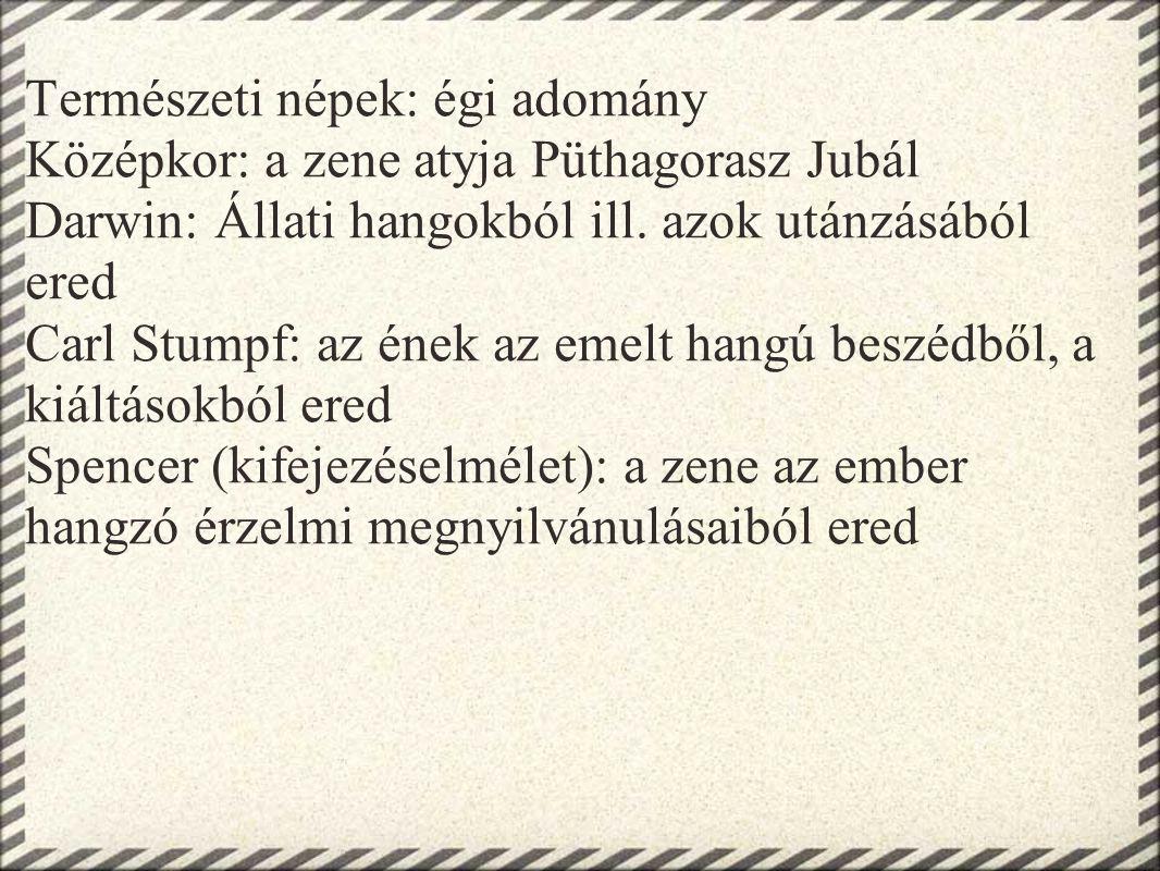 Természeti népek: égi adomány Középkor: a zene atyja Püthagorasz Jubál