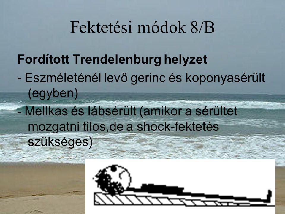 Fektetési módok 8/B Fordított Trendelenburg helyzet