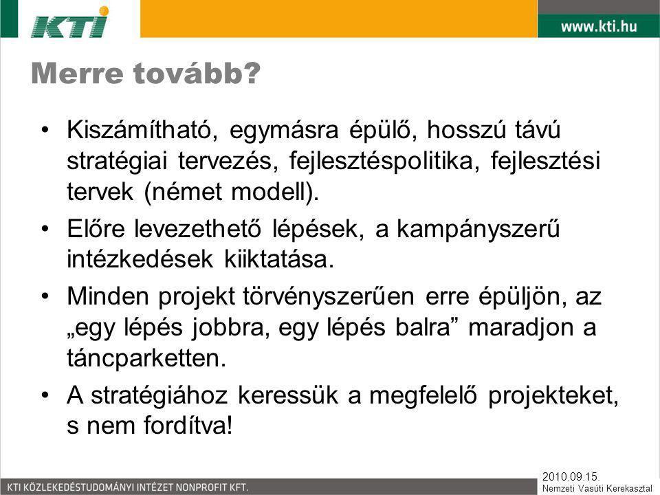 Merre tovább Kiszámítható, egymásra épülő, hosszú távú stratégiai tervezés, fejlesztéspolitika, fejlesztési tervek (német modell).