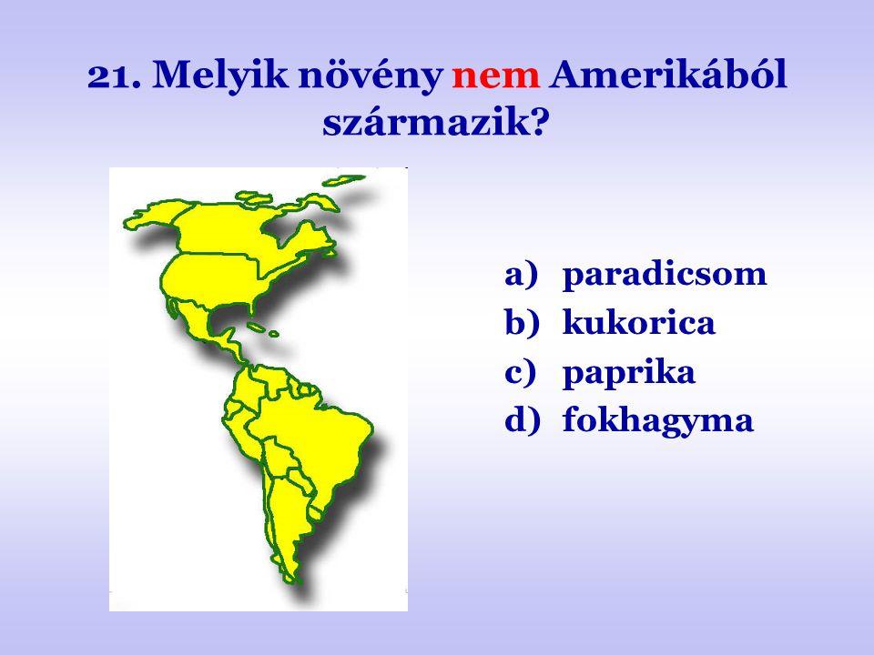 21. Melyik növény nem Amerikából származik