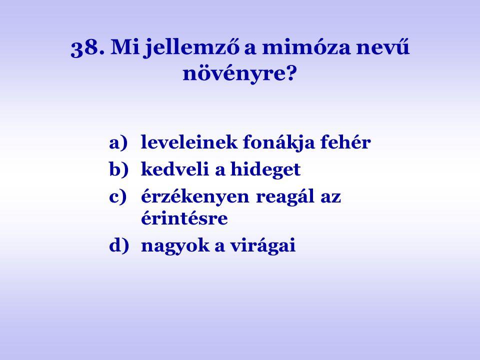 38. Mi jellemző a mimóza nevű növényre