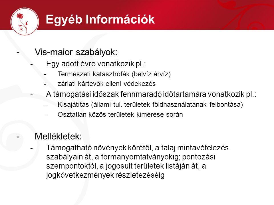 Egyéb Információk Vis-maior szabályok: Mellékletek: