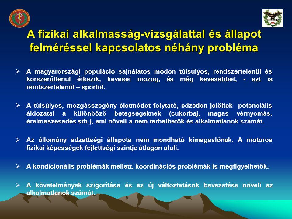 A fizikai alkalmasság-vizsgálattal és állapot felméréssel kapcsolatos néhány probléma
