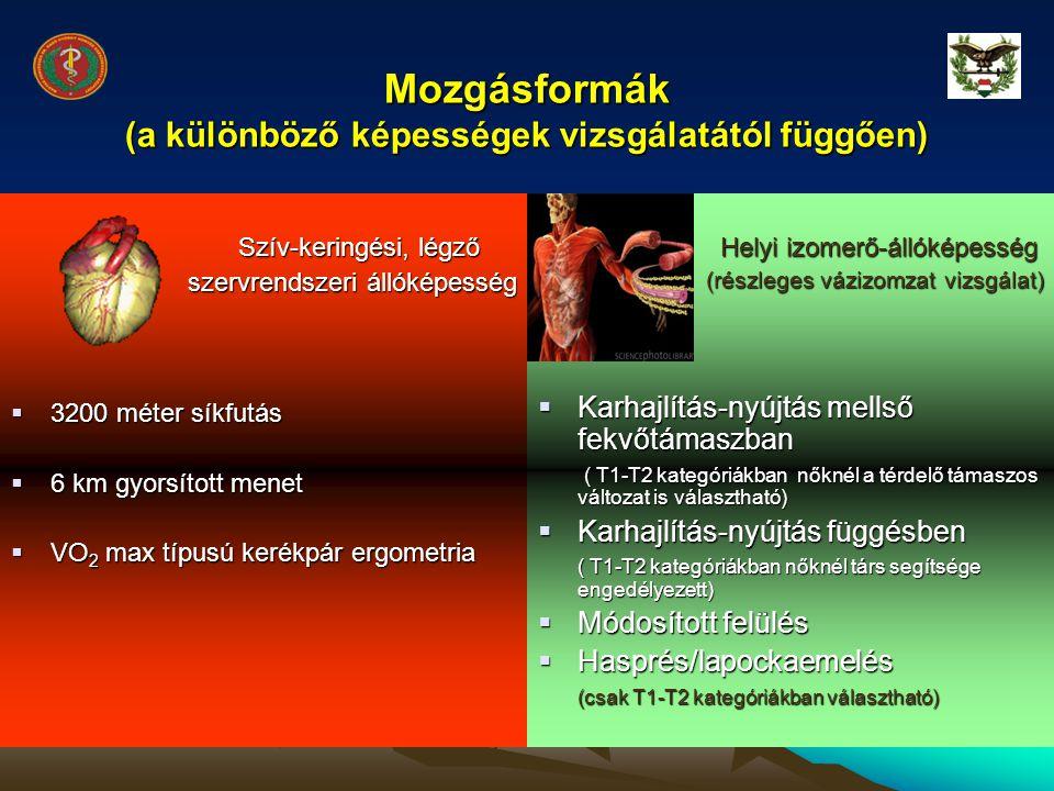 Mozgásformák (a különböző képességek vizsgálatától függően)