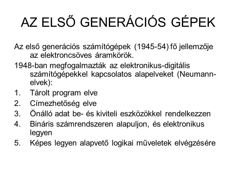 AZ ELSŐ GENERÁCIÓS GÉPEK