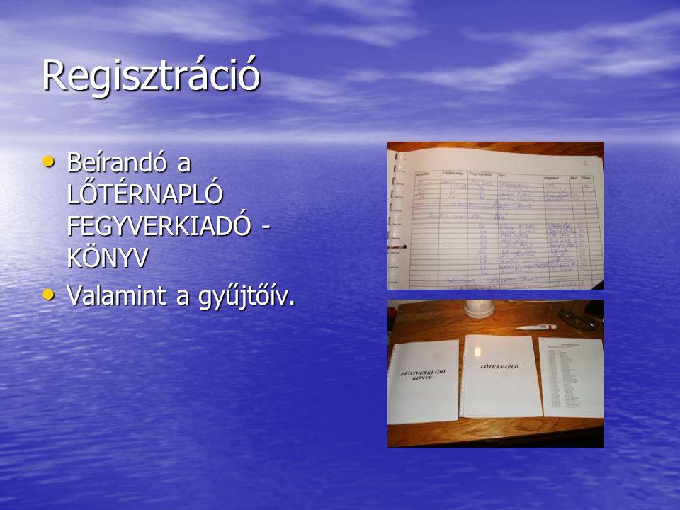 Regisztráció Beírandó a LŐTÉRNAPLÓ FEGYVERKIADÓ -KÖNYV