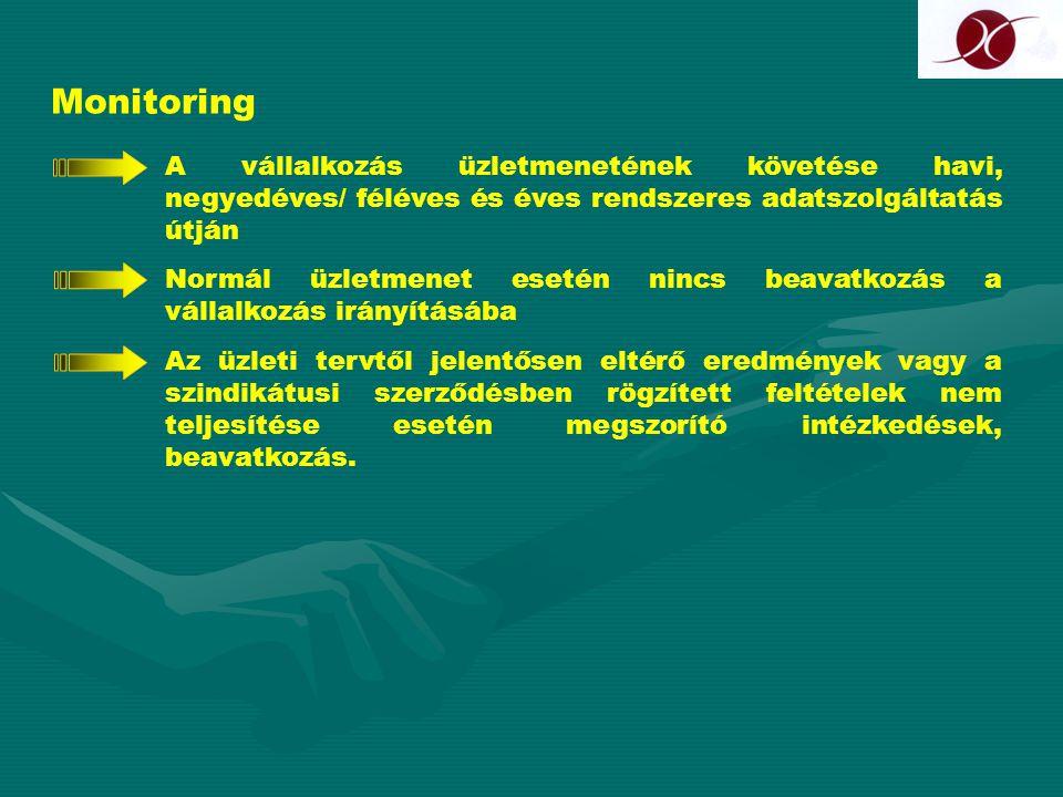 Monitoring A vállalkozás üzletmenetének követése havi, negyedéves/ féléves és éves rendszeres adatszolgáltatás útján.