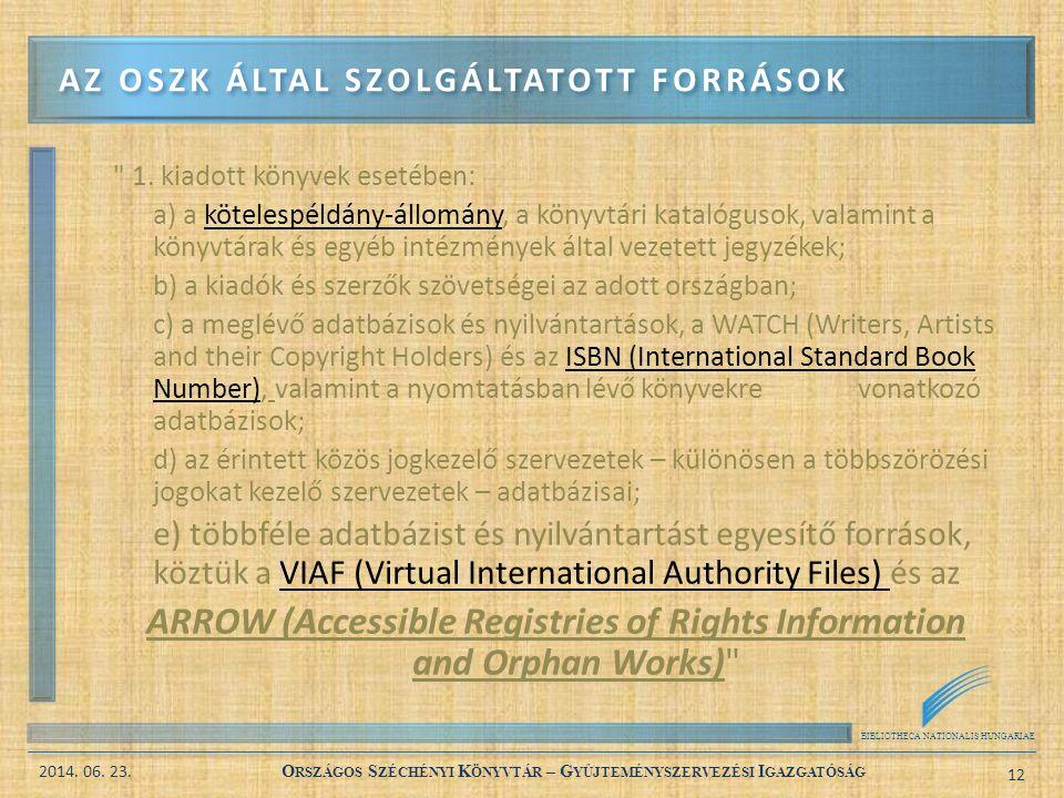 Az OSZK által szolgáltatott források