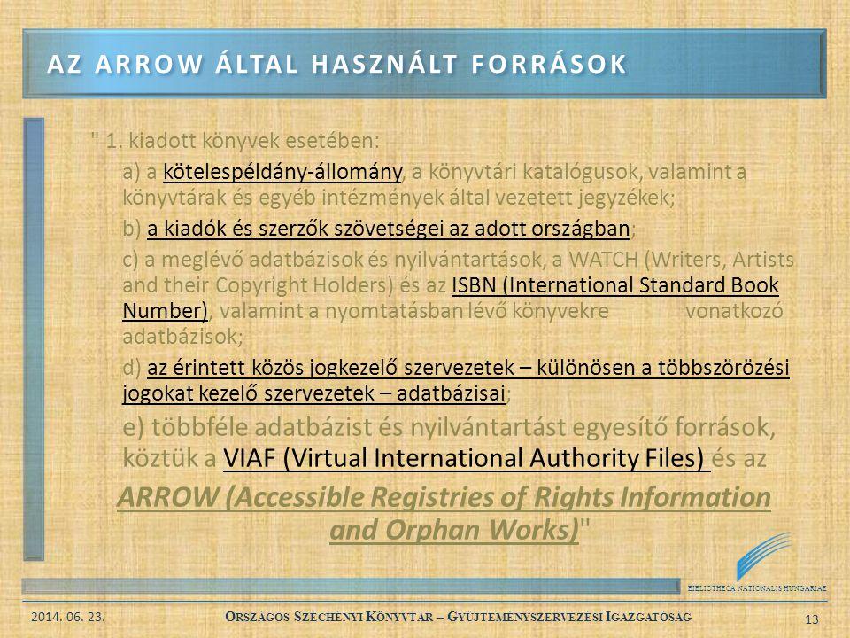 Az ARROW által használt források