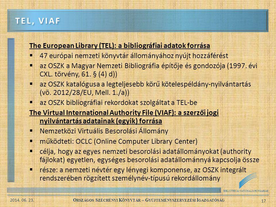 Tel, Viaf The European Library (TEL): a bibliográfiai adatok forrása