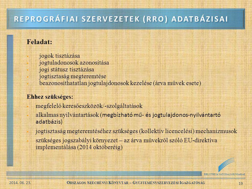 Reprográfiai szervezetek (RRO) adatbázisai