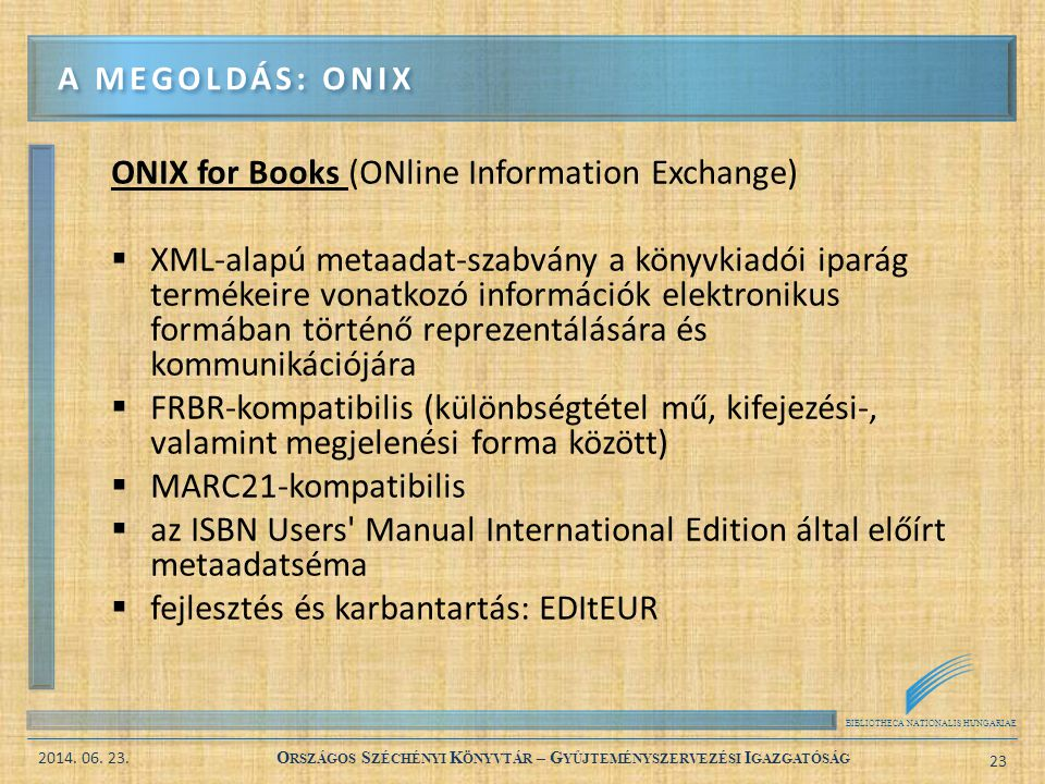 ONIX for Books (ONline Information Exchange)