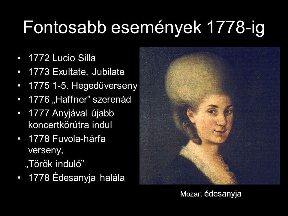 Fontosabb események 1778-ig